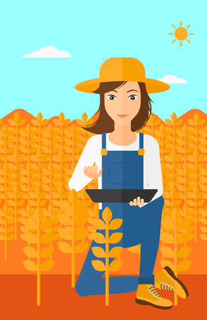 checking: A woman checking plants on a field and working on a digital tablet vector flat design illustration. Vertical layout.