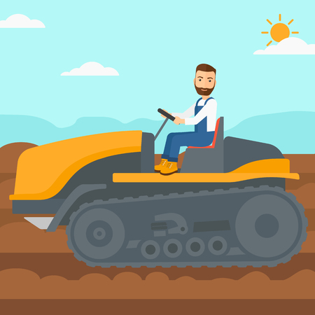cultivator: A hipster man with the beard driving a catepillar tractor on a background of plowed agricultural field vector flat design illustration. Square layout. Illustration