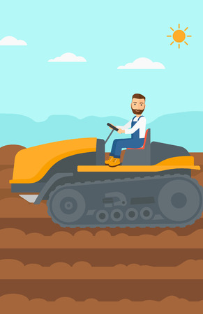 fieldwork: A hipster man with the beard driving a catepillar tractor on a background of plowed agricultural field vector flat design illustration. Vertical layout. Illustration