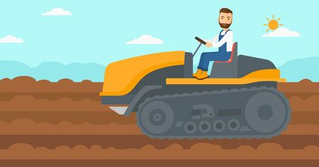 fieldwork: A hipster man with the beard driving a catepillar tractor on a background of plowed agricultural field vector flat design illustration. Horizontal layout. Illustration