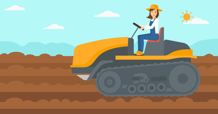 cultivator: A woman driving a catepillar tractor on a background of plowed agricultural field vector flat design illustration. Horizontal layout.