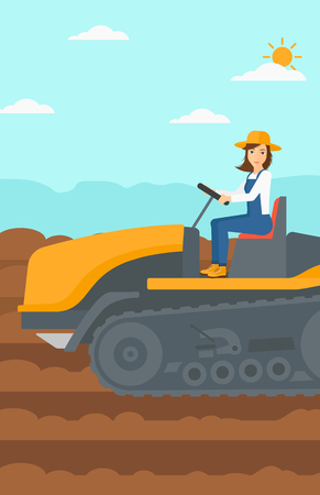 fieldwork: A woman driving a catepillar tractor on a background of plowed agricultural field vector flat design illustration. Vertical layout.