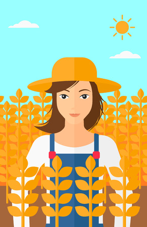 peasant woman: A woman standing in a wheat field vector flat design illustration. Vertical layout.