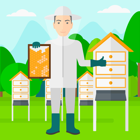 A man wearing protective suit holding a framework in hand and showing thumb up on the background of apiary vector flat design illustration. Square layout. Çizim