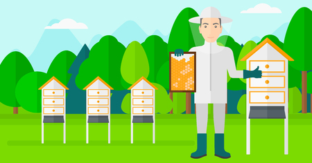 beeswax: A man wearing protective suit holding a framework in hand and showing thumb up on the background of apiary vector flat design illustration. Horizontal layout. Illustration