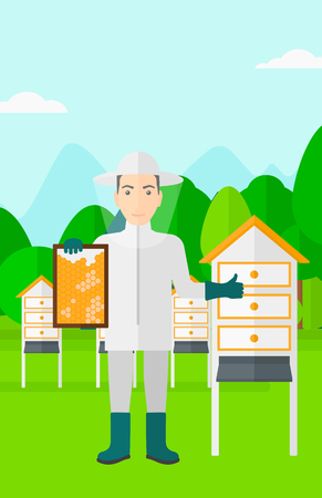 beeswax: A man wearing protective suit holding a framework in hand and showing thumb up on the background of apiary vector flat design illustration. Vertical layout. Illustration