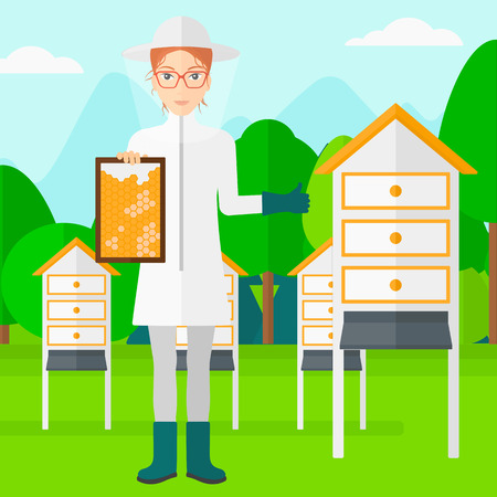 beeswax: A woman wearing protective suit holding a framework in hand and showing thumb up on the background of apiary vector flat design illustration. Square layout. Illustration