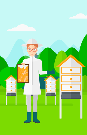 clothes cartoon: A woman wearing protective suit holding a framework in hand and showing thumb up on the background of apiary vector flat design illustration. Vertical layout.