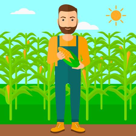 Ein Hipster Mann mit dem Bart einen Maiskolben auf dem Hintergrund der Feldvektor flache Design Illustration. Platz Layout. Vektorgrafik