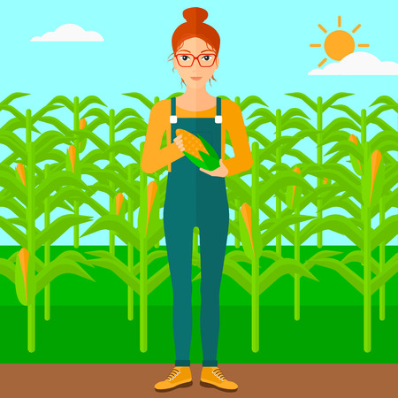 corn on the cob: A woman with holding a corn cob on the background of field vector flat design illustration. Square layout.