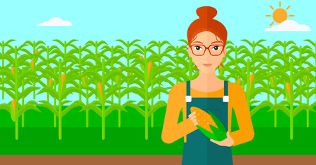 corn on the cob: A woman with holding a corn cob on the background of field vector flat design illustration. Horizontal layout.