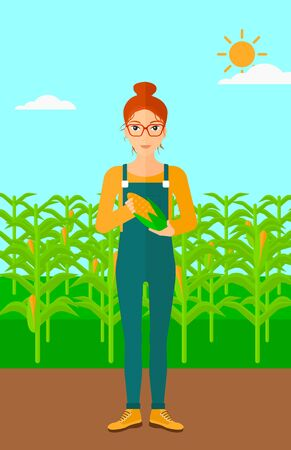 corn on the cob: A woman with holding a corn cob on the background of field vector flat design illustration. Vertical layout.
