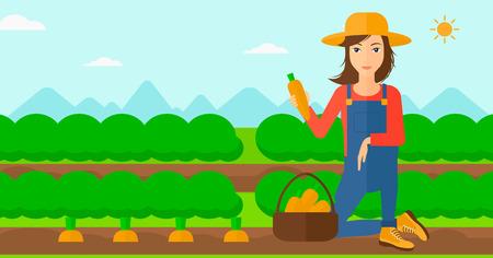 Een vrouw het verzamelen van wortelen in de mand op de achtergrond van het veld rijen met groene struiken vector platte ontwerp illustratie. Horizontale lay-out. Stock Illustratie