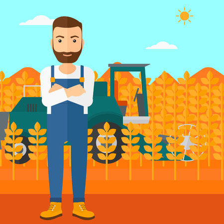 cultivator: A hipster man with the beard standing on the background of combine harvesting wheat vector flat design illustration. Square layout.