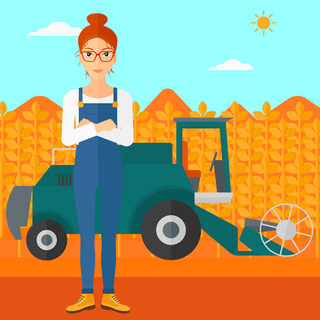 A woman standing on the background of combine harvesting wheat vector flat design illustration. Square layout. Illustration