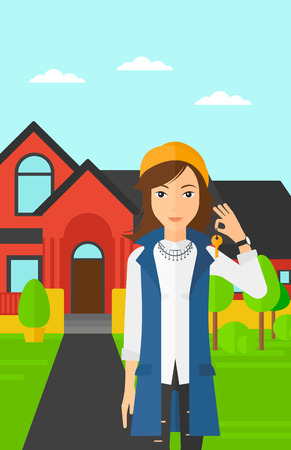 buyer: A real estate agent holding key on the background of red house vector flat design illustration. Vertical layout.