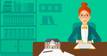 small office: A woman sitting in office at the table while signing a contract and a small model of the house standing on the table vector flat design illustration. Horizontal layout.