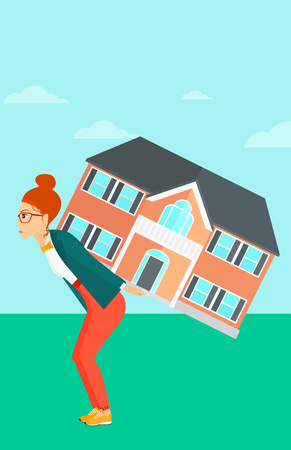 housing project: A woman carrying a big house on her back on a sky background vector flat design illustration. Vertical layout.
