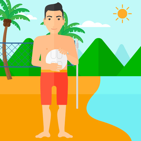 trees landscape: A man with volleyball ball in hands on the beach vector flat design illustration. Square layout.