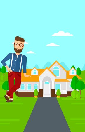 trees landscape: A real estate agent standing near the house with beautiful landscape vector flat design illustration. Vertical layout. Illustration