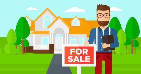 Un agente immobiliare in possesso del documento e cartello per la vendita sul design piatto illustrazione casa vettoriale. layout orizzontale.