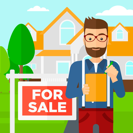 signing: A real estate agent signing documents in front of the house with for sale sign vector flat design illustration. Square layout.