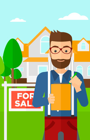 signing: A real estate agent signing documents in front of the house with for sale sign vector flat design illustration. Vertical layout.