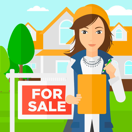 for sale sign: A real estate agent signing documents in front of the house with for sale sign vector flat design illustration. Square layout.
