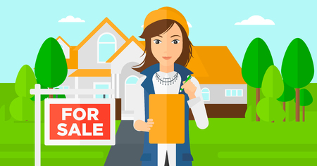 signing: A real estate agent signing documents in front of the house with for sale sign vector flat design illustration. Horizontal layout. Illustration