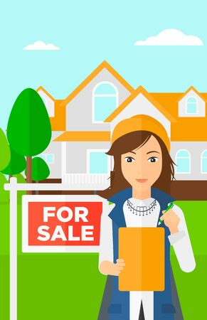 signing agent: A real estate agent signing documents in front of the house with for sale sign vector flat design illustration. Vertical layout.