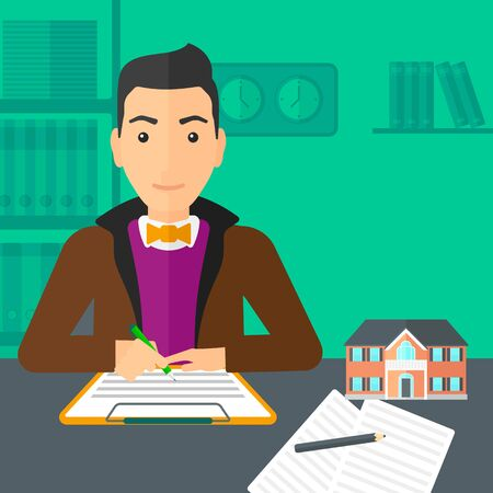 signing: A man sitting in office at the table while signing a contract and a small model of the house standing on the table vector flat design illustration. Square layout.