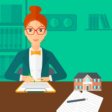 small office: A woman sitting in office at the table while signing a contract and a small model of the house standing on the table vector flat design illustration. Square layout. Illustration