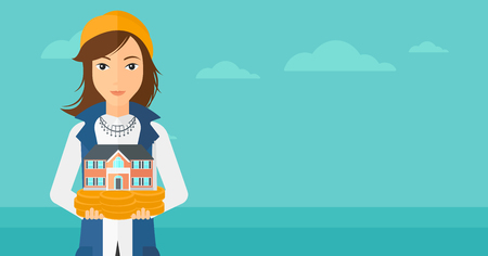 business loans: A woman holding model of house in hands on the background of blue sea and sky vector flat design illustration. Horizontal layout.