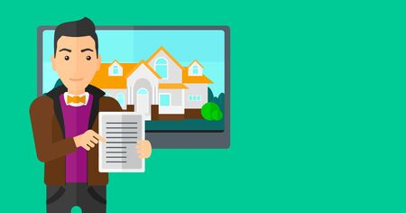 hands holding house: A man standing in front of big screen with house photo and holding a tablet computer in hands on a light green background vector flat design illustration. Horizontal layout.