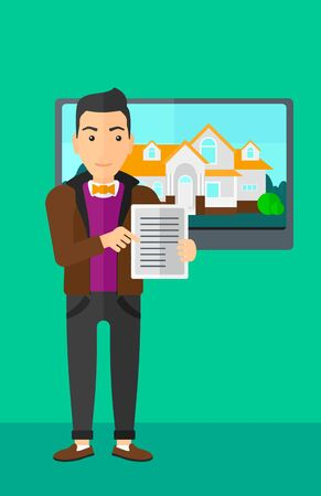 hands holding house: A man standing in front of big screen with house photo and holding a tablet computer in hands on a light green background vector flat design illustration. Vertical layout.