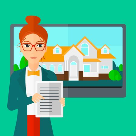 big screen: A woman standing in front of big screen with house photo and holding a tablet computer in hands on a light green background vector flat design illustration. Square layout. Illustration