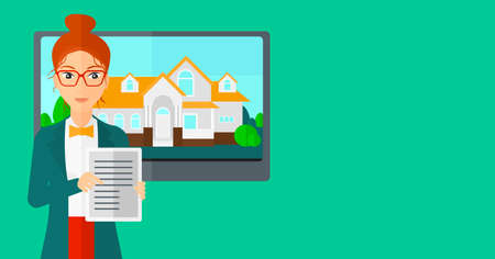 big screen: A woman standing in front of big screen with house photo and holding a tablet computer in hands on a light green background vector flat design illustration. Horizontal layout. Illustration