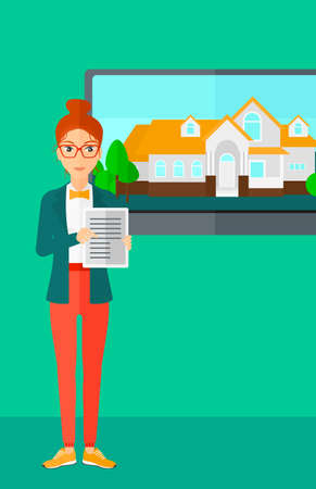big screen: A woman standing in front of big screen with house photo and holding a tablet computer in hands on a light green background vector flat design illustration. Vertical layout. Illustration