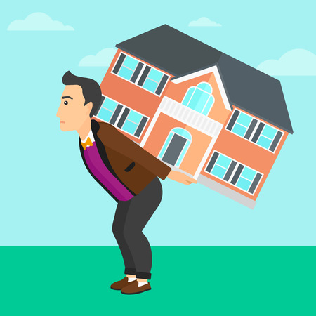 housing project: A man carrying a big house on his back on a sky background vector flat design illustration. Square layout.
