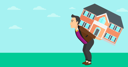 A man carrying a big house on his back on a sky background vector flat design illustration. Horizontal layout.