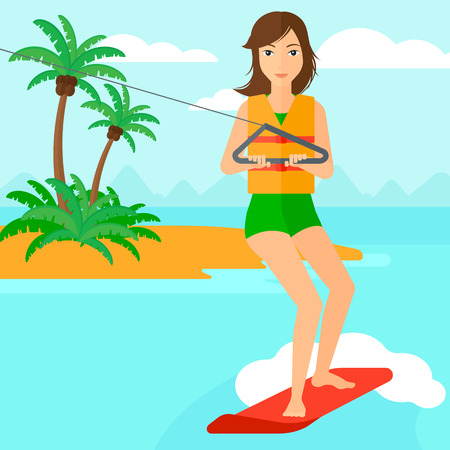 A woman wakeboarding on the sea with a small island on a background vector flat design illustration. Square layout.