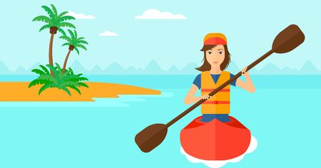 A woman riding in a canoe on the sea with a small island on a background vector flat design illustration. Horizontal layout.