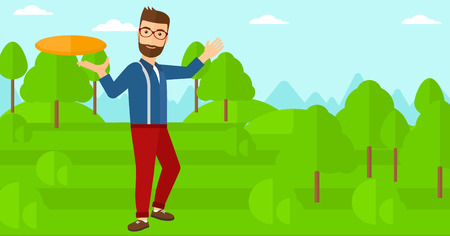 A hipster man with the beard playing frisbee on the background of green lawn with trees vector flat design illustration. Horizontal layout.