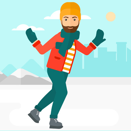 A hipster man with the beard ice skating on frozen lake on a city background vector flat design illustration. Square layout. Çizim