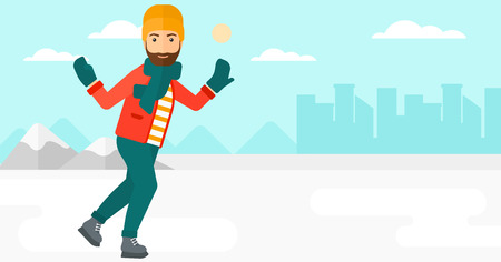 A hipster man with the beard ice skating on frozen lake on a city background vector flat design illustration. Horizontal layout. Stok Fotoğraf - 52371628