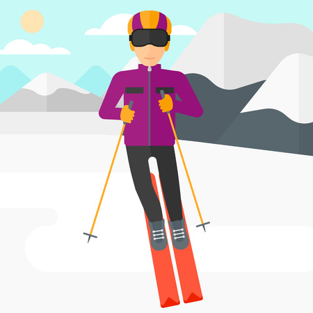 mountainside: Young man skiing on the background of snow capped mountain vector flat design illustration. Square layout.