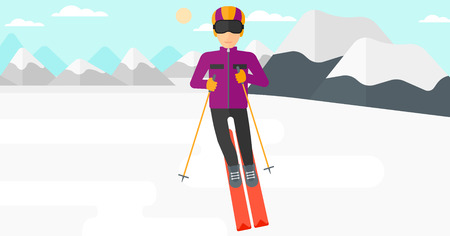 snow capped: Young man skiing on the background of snow capped mountain vector flat design illustration. Horizontal layout.