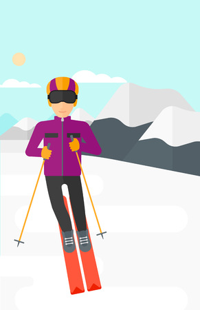 mountainside: Young man skiing on the background of snow capped mountain vector flat design illustration. Vertical layout.