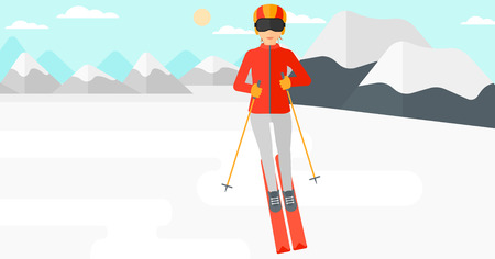snow capped: Young woman skiing on the background of snow capped mountain vector flat design illustration. Horizontal layout. Illustration