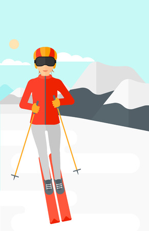 mountainside: Young woman skiing on the background of snow capped mountain vector flat design illustration. Vertical layout.